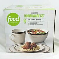 NEW 16 PC FOOD NETWORK BISCOTTI WHITE DINNERWARE SET DINNER SALAD PLATE BOWL MUG