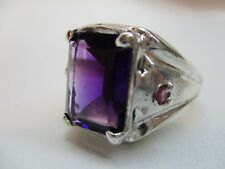 MENS 6.10CT FINE AMETHYST WITH RUBY ACCENTS HANDSOME STERLING RING
