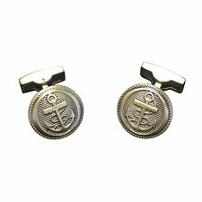 Sail Boat Anchor Nautical Cruise Ship Swim Sea Captain Cufflinks Gold Vintage