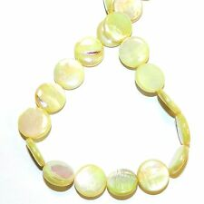 """MP2497L Yellow AB 15mm Flat Round Coin Mother of Pearl Shell Beads 14"""""""