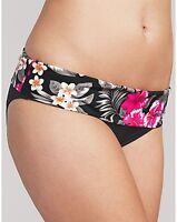 LADIES BLACK FOLD WAIST BIKINI BRIEF FIGLEAVES FLORA  NEW