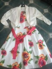 New Tags Monsoon Occasions Dress Floral Uk 12 With Bolero Large