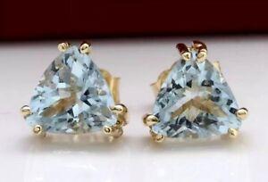 2.12 Carat Natural Aquamarine In 14K Solid Yellow Gold Stud Earrings