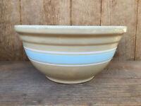Antique Huge Yelloware Yellow Ware Watt Pottery Mixing Bowl Baby Blue Stripe