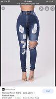"Fashion Nova Women's Size 7 ""Teenage Fever"" Distressed ""Skinny Jeans Dark NWT"