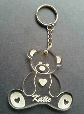Personalised hand made acrylic engraved teddy bear key ring