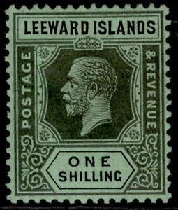 LEEWARD ISLANDS GV SG73, 1s black/emerald, LH MINT. Cat £11.