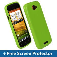VERDE GLOSSY TPU Gel Custodia per HTC One S Smartphone Android Skin Cover Titolare 1