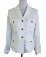 Ralph Lauren Chaps White Military Utility Jacket Womens Size L Store Return