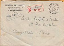 FAIFOO, ANNAM, INDOCHINA to PARIS ~ 1949 REGISTERED COVER with 11 STAMPS ~ RARE