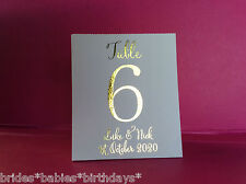 White Table Number Tent Style Wedding Table Personalised Gold Foil V7