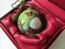 Ne'Qwa Art Glass Christmas Ornament With Snowman & Cardinal In Red Velvet Box