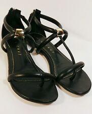 Lola Cruz ❤Black Leather Zip Heel Flat Thong Sandals Women's Size US 6.5/ EUR 37