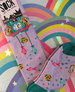 Sock It To Me Women's Knee High Socks Cat O'Clock Kitty Kitten Violet Teal Pink