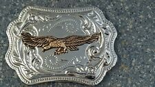 Brass Eagle Soaring Brass Silver USA Cowboy Western Look Belt Buckle Collectible