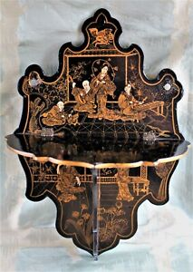 Victorian English Black Lacquered Chinoiserie Papier Mache Folding Wall Bracket