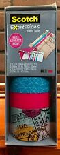 SCOTCH EXPRESSIONS WASHI TAPE 3 Rolls Teal,Pink and Travel Stock 470