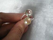 Lemon Quartz & Prasiolite ring, size R/S, 7 carats, 3.65 grams of 925 Sterling S