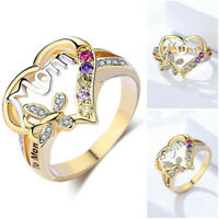 Ring Gold Jewelry Mom Multicolor New Gifts Butterfly Yellow Silver Heart Shaped