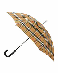 new BURBERRY Unisex Vintage Check Sustainable Walking Umbrella in Archive Beige