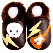 Littleoneshoes(Jinwood) Soft Sole Leather Baby Shoes Skull&Guitar Fur 6-12M