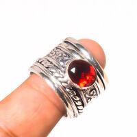 """Garnet Meditation Spin Spinner 925 Steling Silver Handmade Ring 7.75"""""""