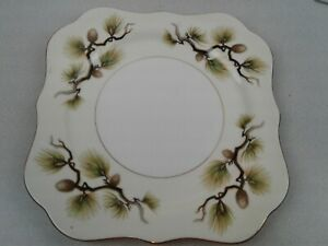 Fine Translucent China Japan Pine Tree large salad or side plate 1960s-1970s scalloped gold edge. Pine cones and pine branches Vintage
