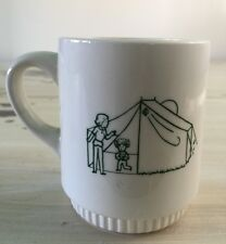CAMP CEDARLEDGE 1981 - GIRL SCOUTS - Vtg 80s Mother Daughter White Coffee Cup