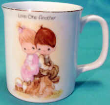 1983 Precious Moments Cup Mug Love One Another Boy & Girl Basket & Stump