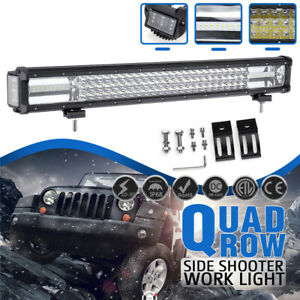 24 Inch  444W 44400LM Dual Side Shooter  LED Work Light Bar Combo Offroad F