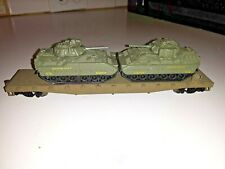 HO Scale TRAIN US ARMY two tank load flat car metal