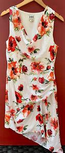 Haute Hippie Dress Large White Orange Floral Silk Asymmetrical Sheath V Neck