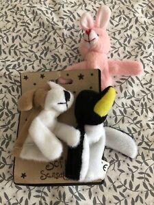 Soft Animal Finger Puppetts- Penguin, Dog, Rabbit