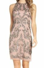 New Adrianna Papell Rose Gold Embellished Sequin Sheath Dress Sz 14P RRP- £175