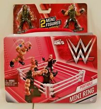WWE MIGHTY MINI'S  PORTABLE MINI RING WITH SETH ROLLINS & ROMAN REIGNS NEW