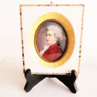 Antique Mini Portrait Hand Painted Mozart Bone Frame Ormolu French 1900 bone