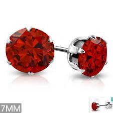 Edelstahl Ohrringe 7mm Ohrstecker Zirkonia Stainless steel earrings e-xry121