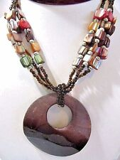 GLASS AND SHELL ABALONE WITH LARGE ROUND SHELL PENDANT NECKLACE CONTEMPORARY