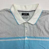 Alfani Polo Shirt Mens 2XL XXL Blue Gray White Short Sleeve Regular Fit Striped