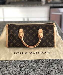 Excellent Louis Vuitton Popincourt Monogram Leather Handle Bag 90's Genuine Used