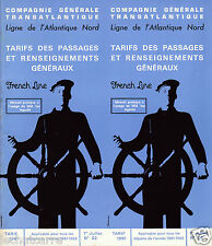 Paquebot - SS France - Tarifs des Passages - Cie. Gle. Transatlantique - 1961