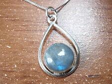 Labradorite Necklace 925 Sterling Silver Globe in Hoop Corona Sun Jewelry #34-9