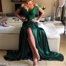 Dark Green Prom Dress Off Shoulder Split Formal Gowns Long Satin Evening Dresses