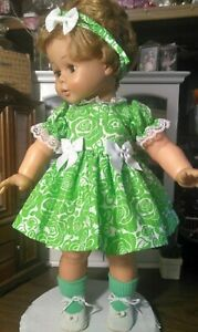 """SSO DOLL CLOTHES GREEN & WHITE FLORAL PRINT DRESS & MORE for 22"""" IDEAL KISSY"""
