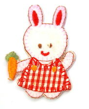 CUTE BUNNY RABBIT & CARROT Embroidered Iron Sew On Cloth Patch Badge  APPLIQUE