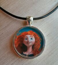 """Princess MERIDA"" Disney's BRAVE. Glass Pendant with Leather Necklace"