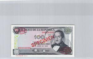 Colombie Spécimen 100 Pesos Oro 2.1.1969 Pick 410s UNC