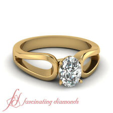 .90 Ct Oval Shaped 18K Yellow Gold Diamond Solitaire Split Shank Engagement Ring