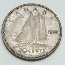 1948 Canada 10 Ten Cents Dime Circulated Canadian Coin D790