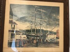 "NICE RARE 1957 LISTED H. GILBERT FOOTE FRAMED NAUTICAL PRINT ""MYSTIC SEAPORT CT"""